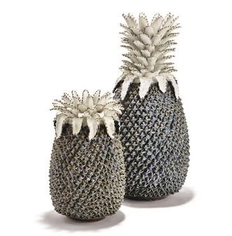 Pineapple White and Blue Sculpture/Vase - Large