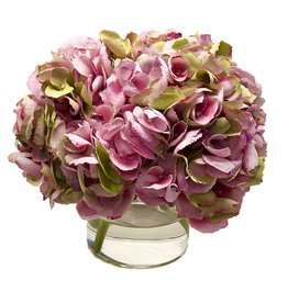"""Hydrangea x3 in 5"""" Cylinder-Faux Water (Green Pink)"""