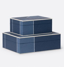 Breck Box in Mixed Navy Faux Shagreen-Large
