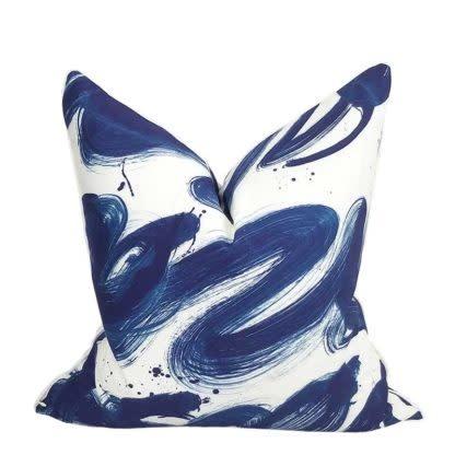 Brushstrokes Pillow-Navy