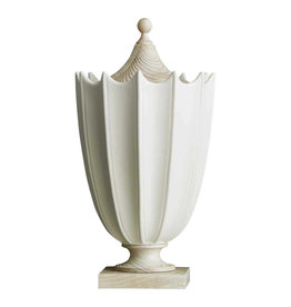 Crenulated Urn Medium - Matte White