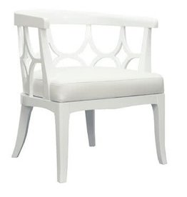Barrel Back White Lacquer Chair