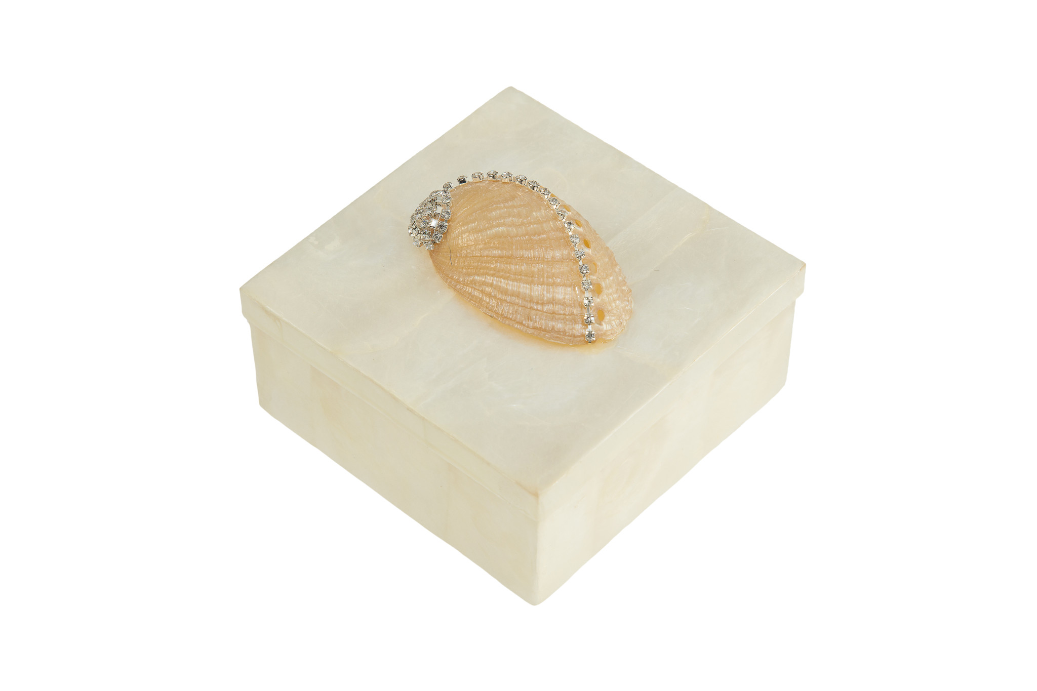 White Capiz box with Abalone Shell-Small