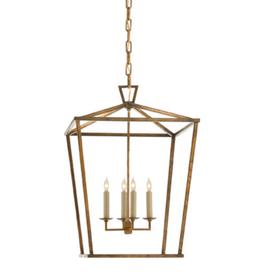 Darlana Lantern-Medium in Gilded Iron