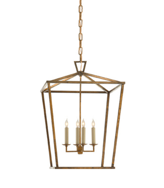 Darlana Lantern-Medium in Gilded Iron