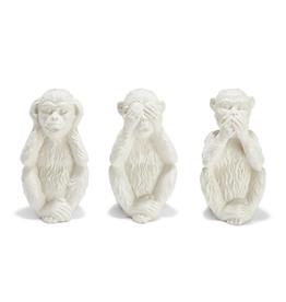 """No Evil Monkeys  9""""H- Set of 3 - Ceramic Sculptures"""