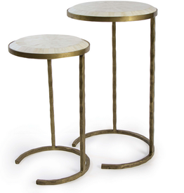Bone Veneer Nested Tables-Brass