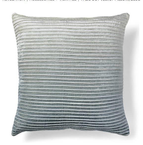 Fade Out Velvet Blue Pillow