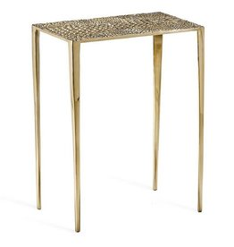 Axel Rectangular Croc Table-Brass