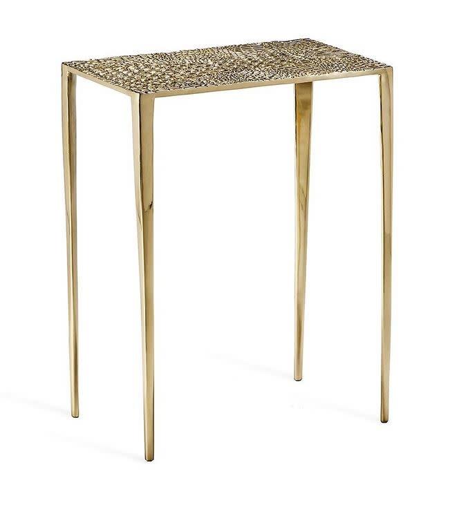 Axel Rectangular Croc Table-Brass