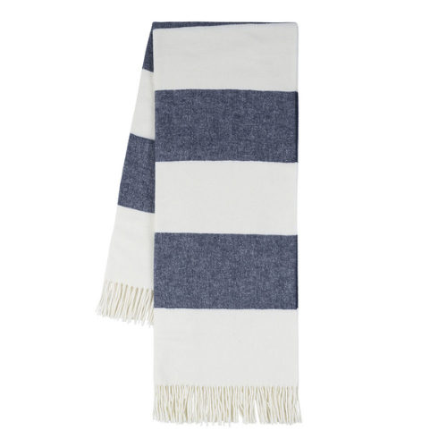 Navy Rugby Stripe Throw