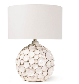 "Lucia Ceramic Table Lamp White 19"" D x 19"" H"