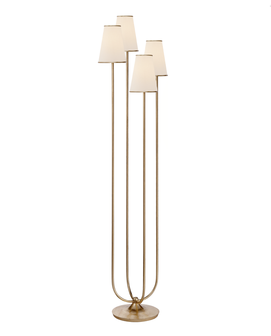 Montreuil Floor Lamp in Gild with Linen Shades