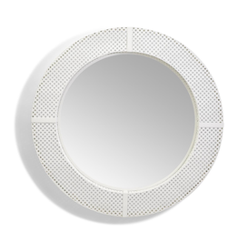Cane Webbing Pattern Large Round Mirror