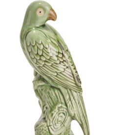 Tropical Green Parrot Sculpture - Large