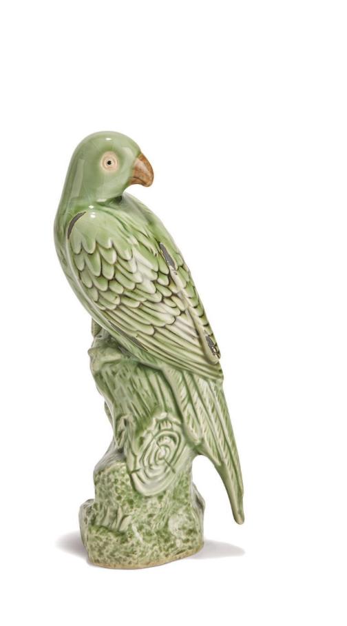 Tropical Green Parrot Sculpture - Large