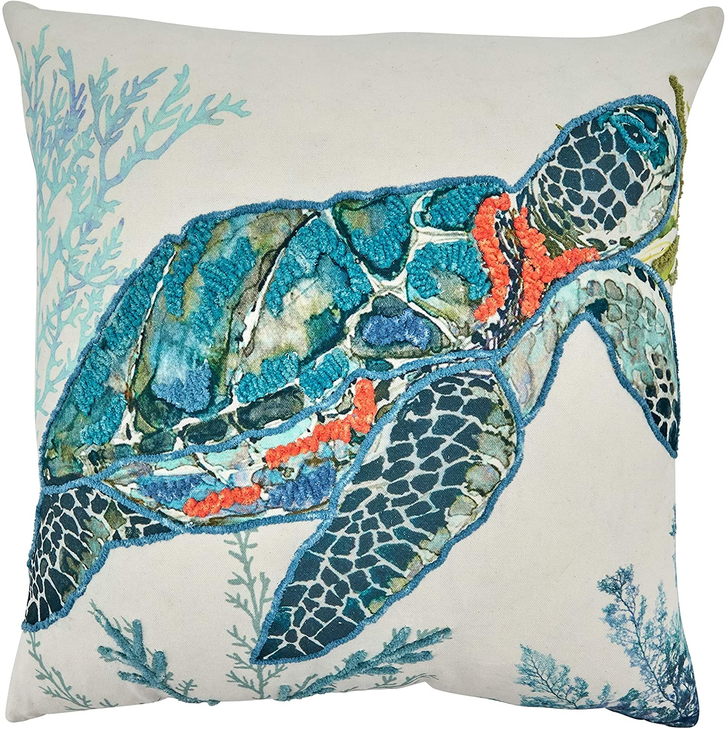 """Sea Turtle Pillow - Down Filled - 20"""" Square"""