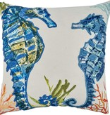 """Sea Horse Pillow - Down Filled - 20"""" Square"""