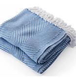 Monhegan Cotton Throw BajaBlue/Soft White 48X70