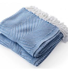 Monhegan Cotton Throw BajaBlue/Soft White