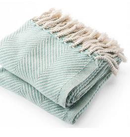 Monhegan Cotton Throw IslandBlue/Soft White