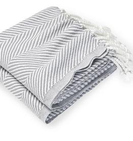 Monhegan Cotton Throw Quicksilver/Soft White
