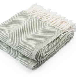Monhegan Cotton Throw Tea/Soft White