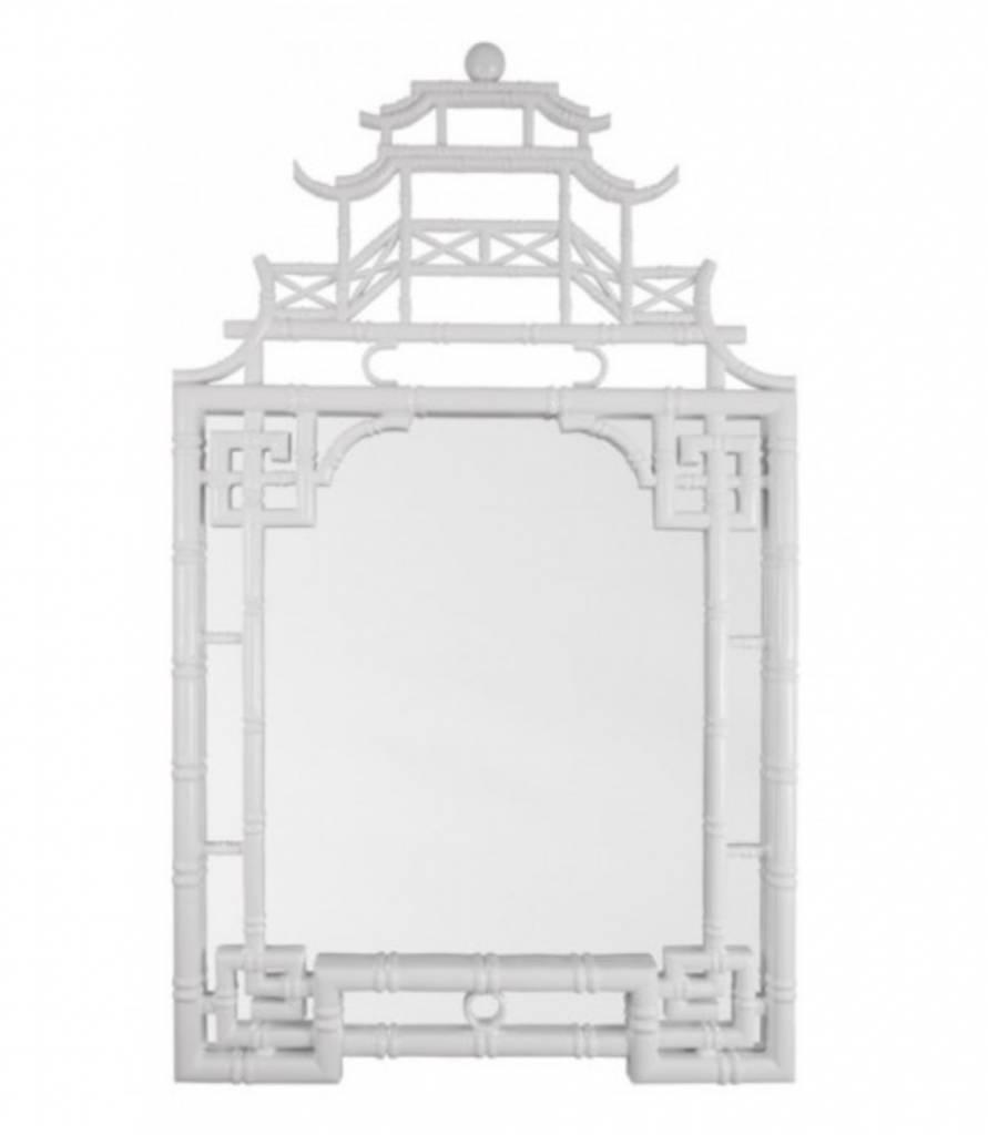 White Lacquer Pagoda Mirror