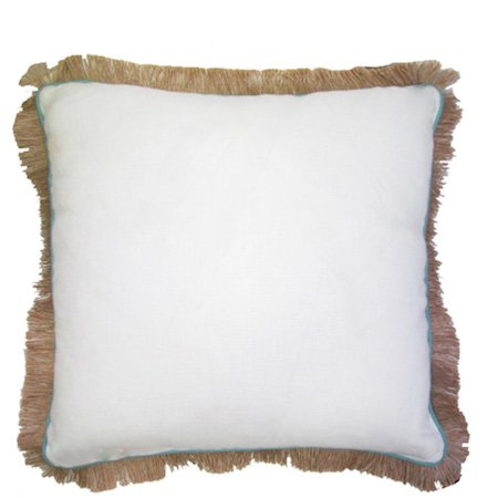 Oyster Linen Pillow w/Peacock Trim