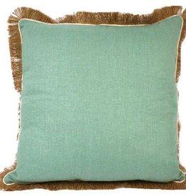 Aqua Linen Pillow w/Jute Fringe