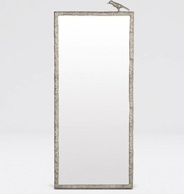 Joelle Mirror-Single Bird in Satin Silver Metal