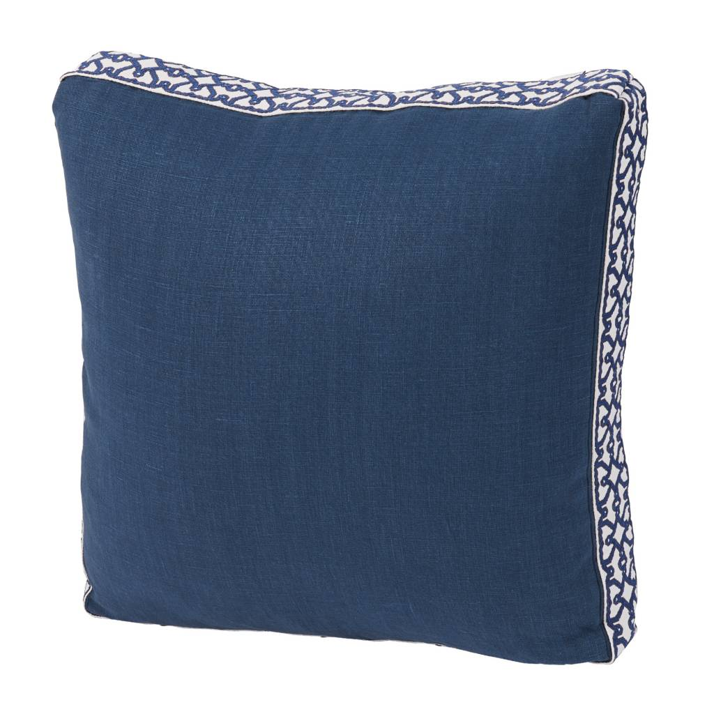 Navy Linen Throw Pillow with Navy Florence Tape