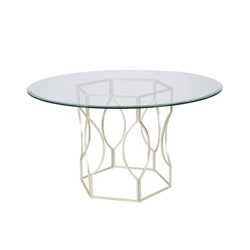 Abi Silver Hex Dining Table w/Glass