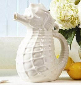 Seahorse Pitcher in White Ceramic