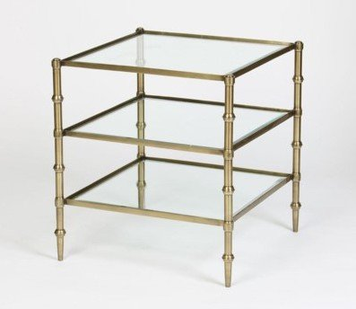 Tiered Square Glass Accent Table in Antique Brass Finish