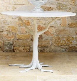 White Faux Bois Dining Table 41.5 dia
