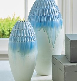 Cut Carved Vase-Cloud-Lg