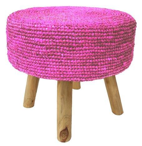 Raffia Stool Pink
