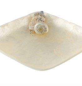 Capiz Shell Square Dish - White