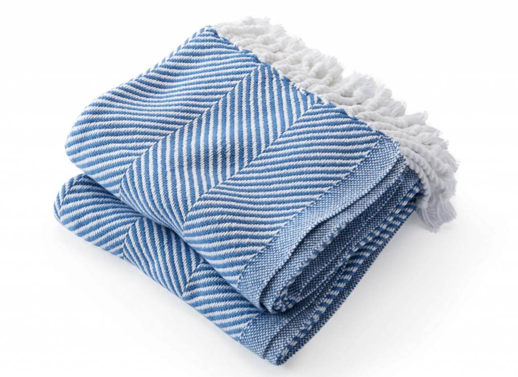 Baja Blue Cotton Herringbone Throw