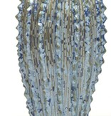 Blue Ribbed Vase-Small