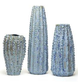 Blue Ribbed Vase-Med