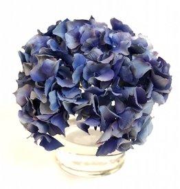 """Hydrangea in 4"""" Cylinder-Faux Water (Dark Blue)"""