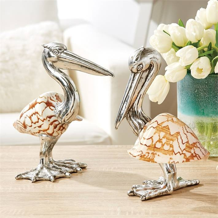 Pelican Sculpture Silver Plated Resin - Shell