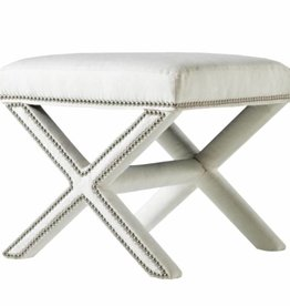 X Ottoman in Sunbrella Spinnaker Salt with Nickel Nailheads