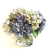 """Large Hydrangea x7 in 6"""" Cylinder-Faux Water (Light Blue/Green)"""