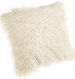 White Mongolian Lamb Pillow