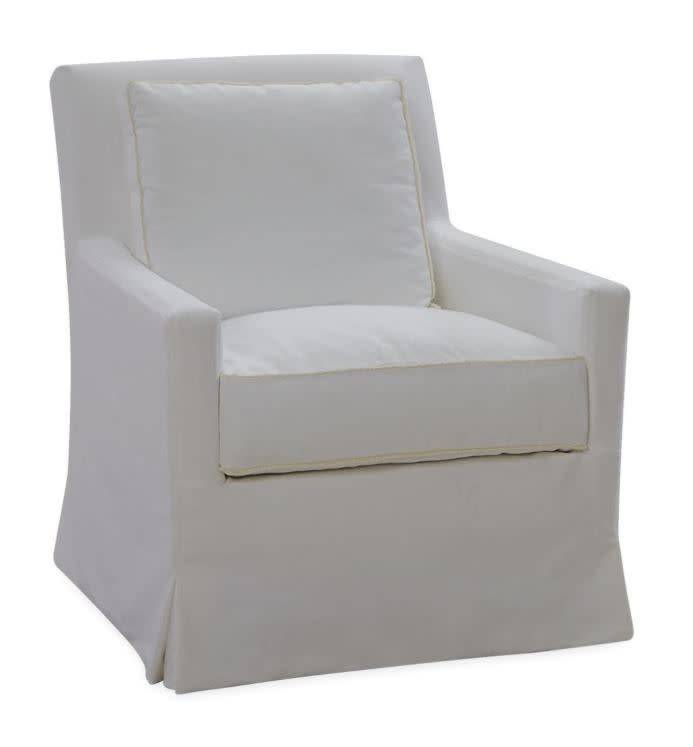 Slipcovered Swivel Chair-Boomer White