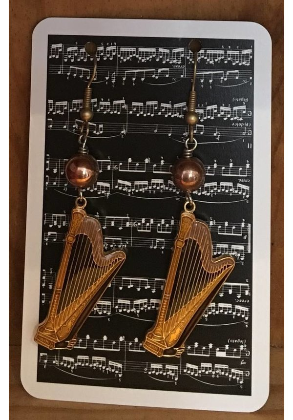 Harp Charm Earrings With Copper Beads