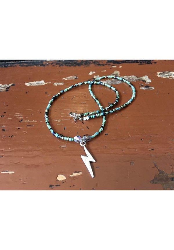 Lightening Bolt Beaded Charm Necklace - Green/Czech Glass Beads